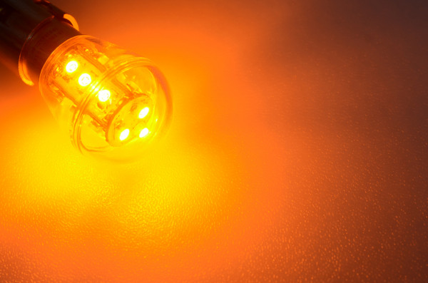 BA15S LED-Miniglobe AC/DC 25 Lumen 300° Gelb 0,7W Signallampe Green-Power-LED