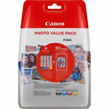 Canon Tintenpatrone Fotopapier 10 x 15cm gelb cyan magenta schwarz (0386C006, CLI-571BK CLI-571C CLI-571M CLI-571Y)