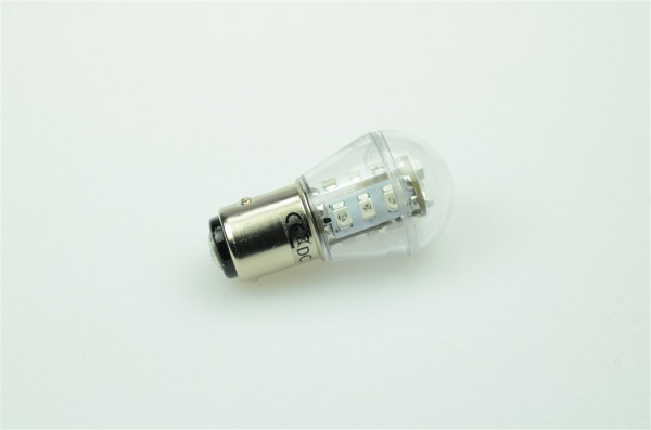 BAY15D LED-Miniglobe AC/DC 27 Lumen 300° Rot 0,7W dimmbar Green-Power-LED