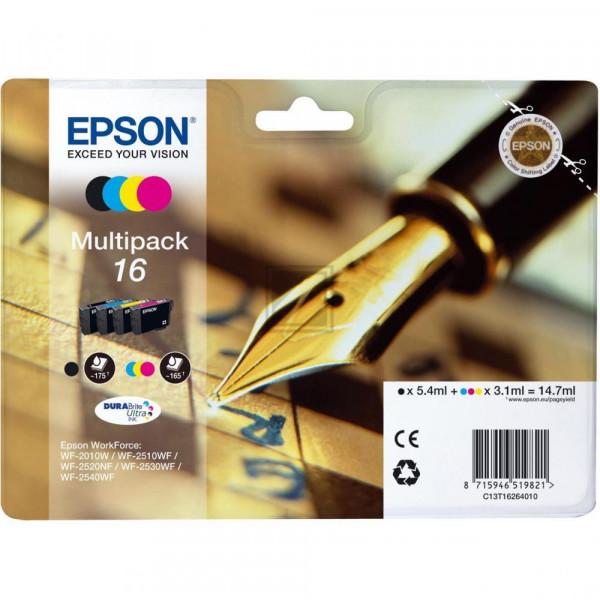 Epson Tintenpatrone gelb, cyan, magenta, schwarz (C13T16264020, T1626)