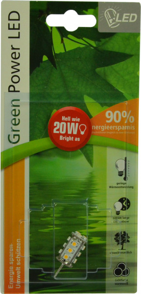 G4 LED-Stiftsockellampe AC/DC 140 Lumen 300° warmweiss 1,3W dimmbar Green-Power-LED