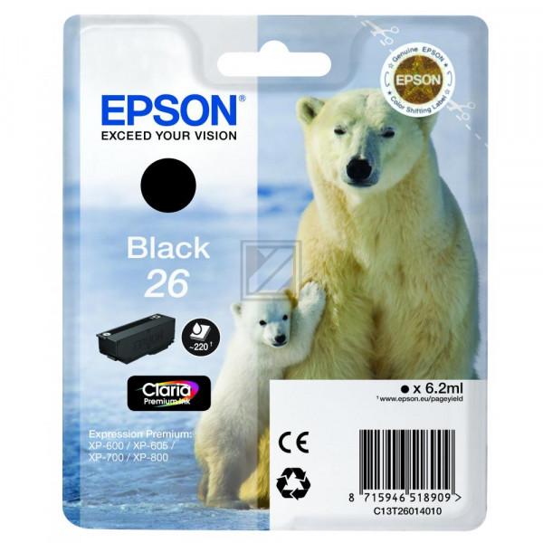 Epson Tintenpatrone schwarz (C13T26014020, T2601)
