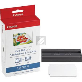 Canon Thermo-Transfer-Rolle Photo Paper 54x86mm weiß farbig 18 Blatt (7741A001, KC-18IF)