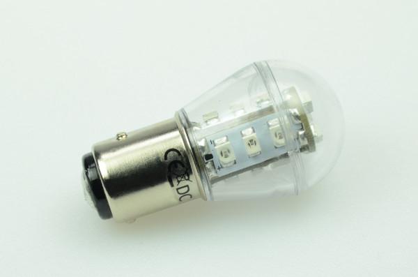 BA15S LED-Miniglobe AC/DC 27 Lumen 300° Rot 0,7W Signallampe Green-Power-LED